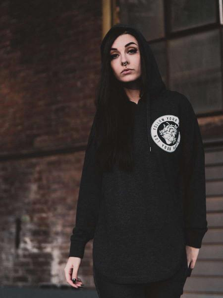 Follow your Heart Girlie Oversized Hoodie [black]