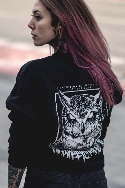 Owl Girlie Oversized Sweater [black]