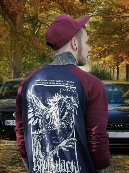Rooster Sweater [burgundy/navy]